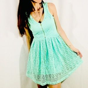 GUESS soft green lace flare dress